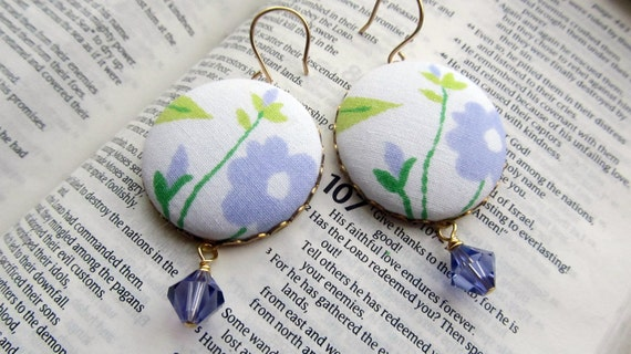 Vintage fabric covered button and tanzanite earrings