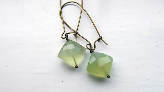 Green chalcedony kites on antique bronze long kidney ear wires