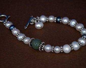 Pearl and jade bracelet