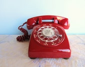 Rotary Dial Telephone - Vintage - Red - Western Electric
