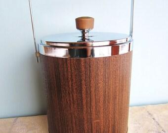 Ice Bucket Kromex -Faux Wood - Stainless Steel - Tongs