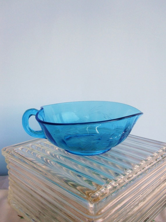 Blue Etched Glass Serving Bowl with Spout