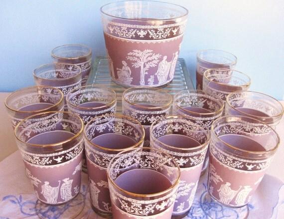 Cranberry Jeanette Glassware - Hellenic Jasperware - Six Tumblers Eight Goblets - Ice Bucket Gold Rim