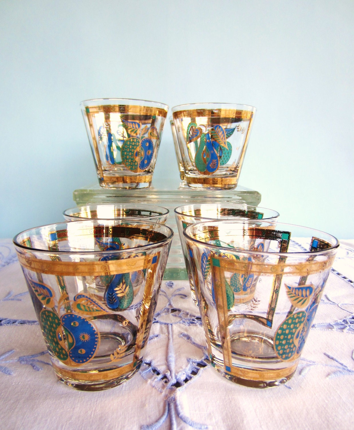 georges briard glassware forbidden fruit glasses 8 blue