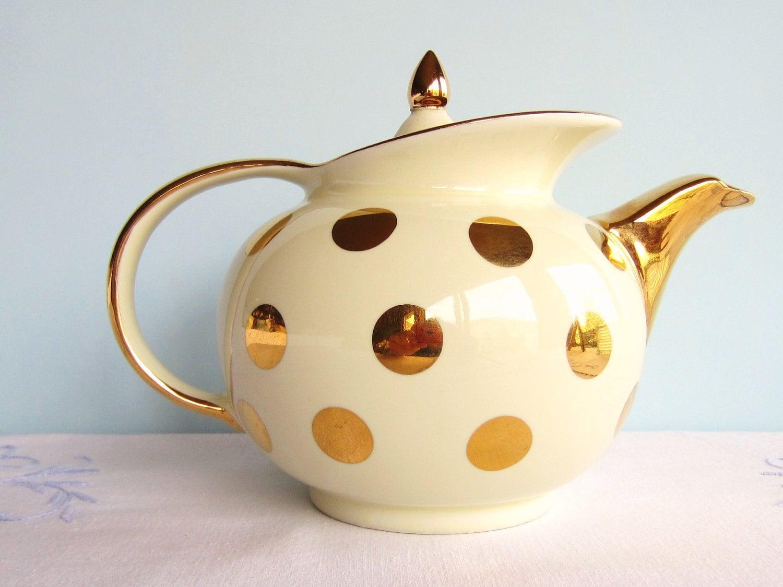 Hall polka dot teapot ivory gold hall teapot by for Gold polka dot china