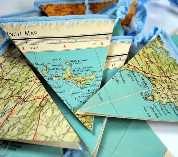 Cornwall Bunting vintage map recycled garland