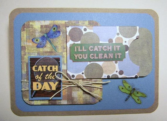 Handmade Fishing Theme Card with gift card holder, dad, father, husband, brother, uncle, son, grandfather