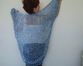 Blue knits  knitting Triangle  Shawl sustainable fashion - designbySEMY