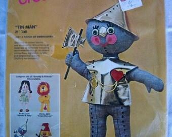 "Vintage Bucilla Creative Needlecraft Tin Man From Wizard of Oz Toy Doll 21"" Tall Kit 2372"