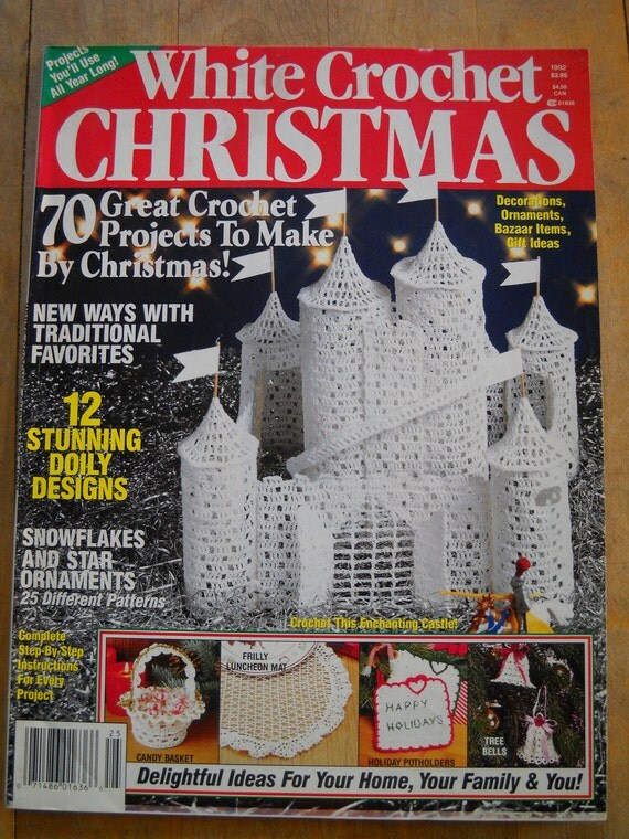 White Crochet Christmas Magazine 1992 Thread Crochet And Yarn