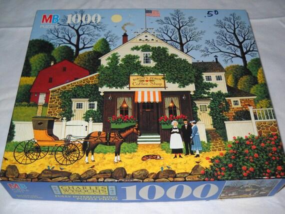 Vintage Charles Wysocki Americana 1000 Piece Jigsaw Puzzle Birdies Perch Coffee Shop 1992