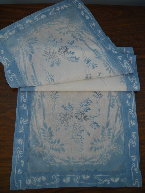 Vintage Table Runner Blue Asian Cloth Table Decor 15 x 51 Bamboo Leaves Butterflies