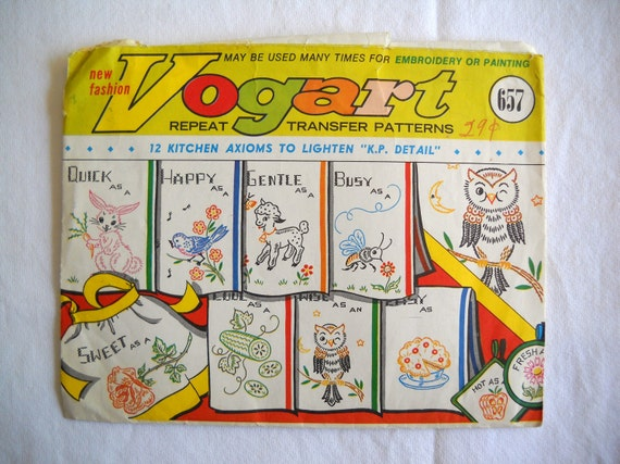 Vintage Vogart Iron On Repeat Transfers Patterns Number 657 12 Designs Kitchen Dish Towels Aprons to Embroider