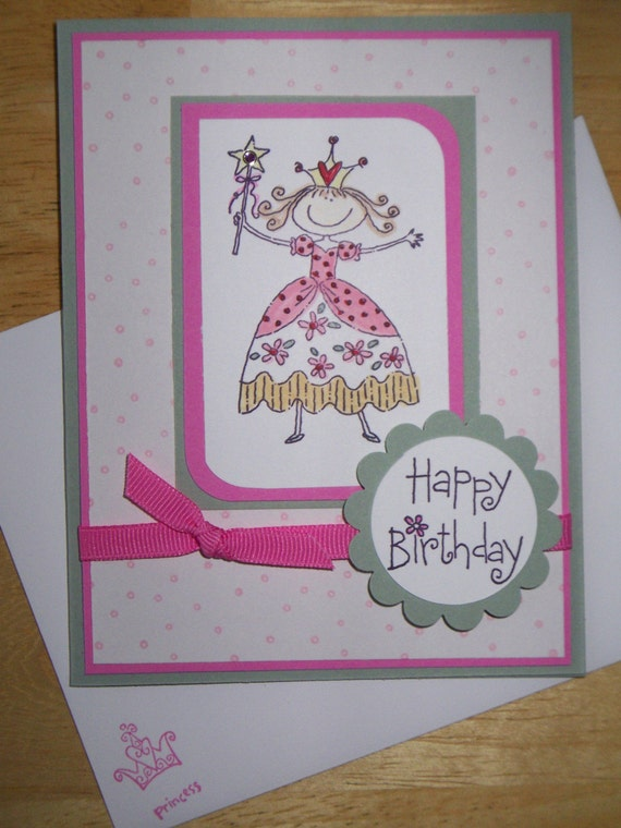 Pretty Princess Birthday Card - pink and green