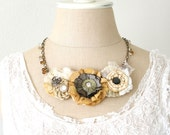 Blooming Fabric Floral Necklace in Warm Autumn Yellows and Natural Whites