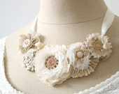 Bridal Statement Necklace, Floral Statement Necklace, Ivory White and Blush, Vintage Wedding, Bridal Jewelry