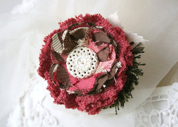 Shabby Chic Fabric Flower Pin Brooch in Raspberry Red, Chocolate and Ivory White