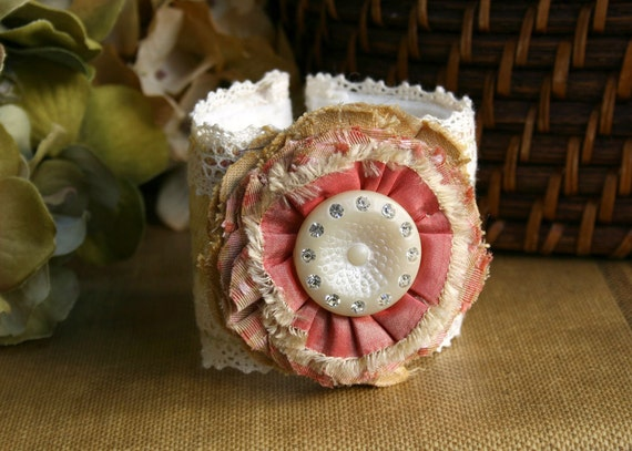 Floral Wrist Corsage, Fabric Cuff Bracelet in Coral Pink with Vintage Rhinestone Button, Textile Jewelry