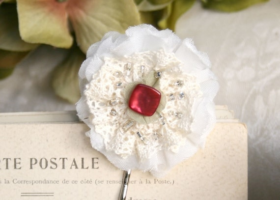 Red and White Hair Flower Bobby Pins with Vintage Red Buttons, Lace and Silver Beads