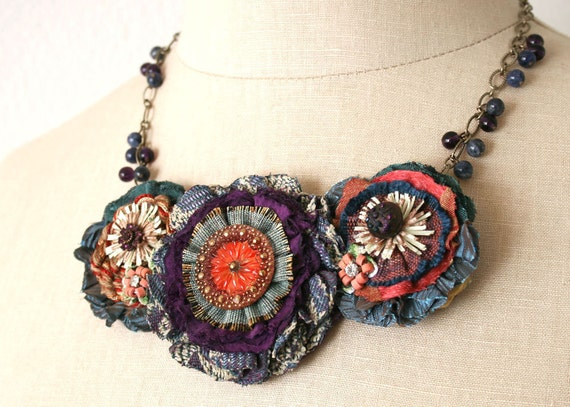 Colorful Fabric Flower Necklace, Teal Blue, Red, Violet Purple, Gold