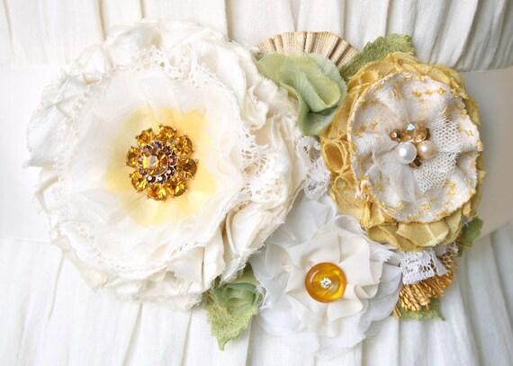 Bridal Sash Wedding Sash Floral Belt in Ivory White and Yellow