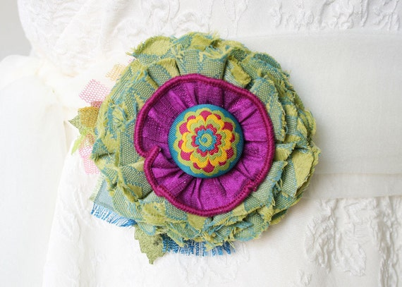 Colorful Fabric Flower Pin Brooch Corsage