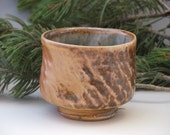 HOLIDAY SALE/ Manabigama Wood Fired Yellow and Brown Yunomi/ Tea Cup- 7 oz.