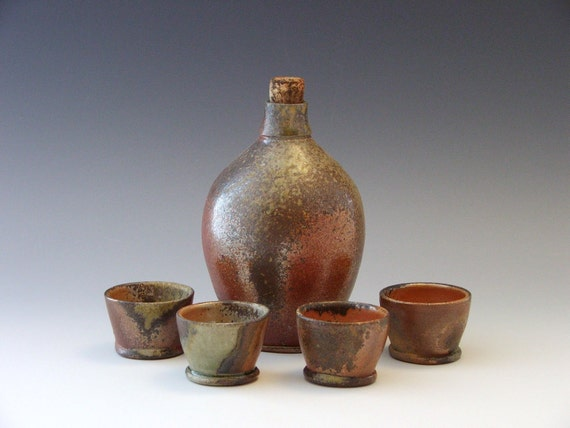 Wood Fired Stoneware Sake Set with 4 matching small cups