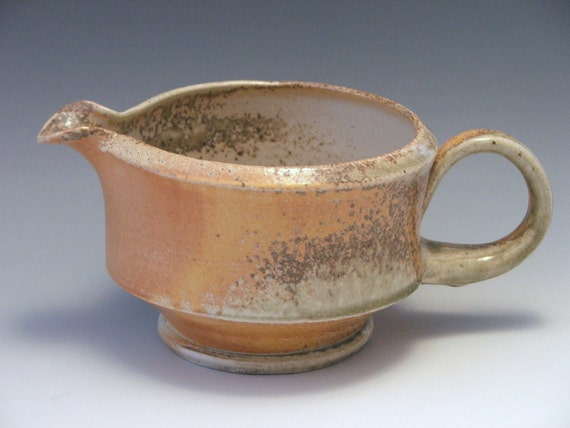 HOLIDAY SALE/ Loopy Handle Stoneware Wood Fired Batter Bowl- 26 oz.