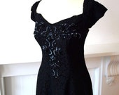 1940s black lace full princess line ball gown with boned, beaded and sequin bodice and floor length dress S small