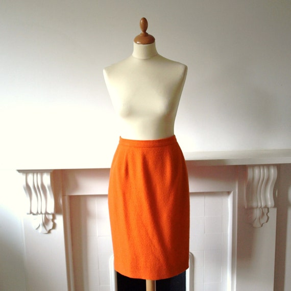 Vintage bright orange boucle pure wool pencil wiggle skirt by Jaeger small to medium