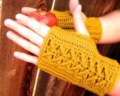 Fingerless Gloves, Crochet Butterscotch, Handmade Fingerless Gloves SALE 15% OFF