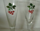 Vintage 1950s 'Cherry B' cherry brandy glasses with shaped stems