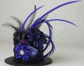 Black Brocade w Violet Purple Royal Flowers Mini Top Hat by Lady Lygeia on Etsy