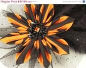 25% OFF SALE Halloween Fascinator Orange Black Striped Beaded Kanzashi Flower with Black Feathers