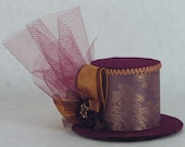 Lavender and Copper Paisley with Purple Velvet Mini Top Hat Fascinator with Rhinestones and Tulle