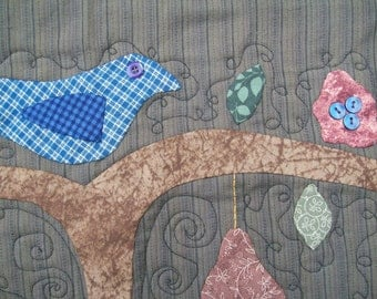Birdie in a Pear Tree Quilted Wall Hanging