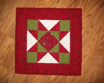Red White and Green Square Table Runner