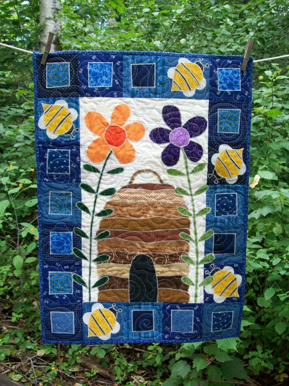 Bee Skep Quilted Wall Hanging Mini Quilt