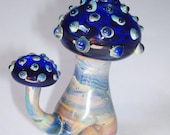 Glass Pipe, Mushroom Pipe in Blue and Butterscotch, 75 grams