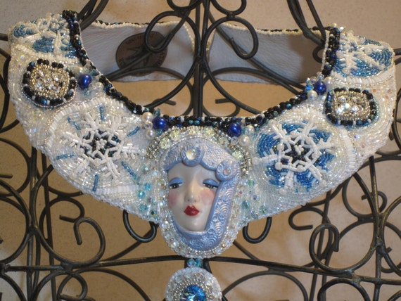 "Bead Embroidery Statement Bib Necklace ""Snow Angel"" EBEG Team Bead Fest 1"