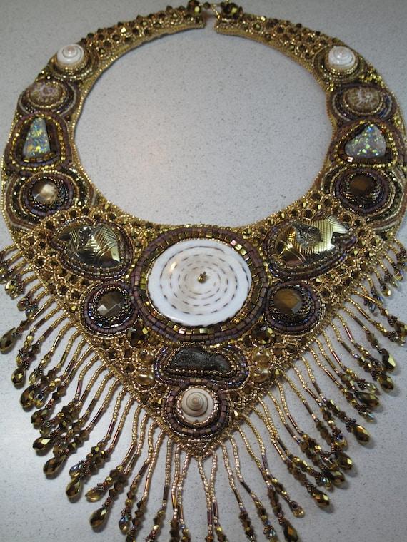 "Bead Embroidery Bib Necklace ""Treasure of the Sea"""