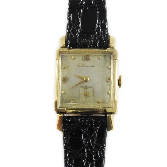 Paul Breguette Square 10K Gold filled Vintage Wristwatch 17J, Swiss made