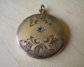Victorian 1874 Blue Aquamarine Rhinestone Gold Fill Pendant Locket ANTIQUE Jewelry