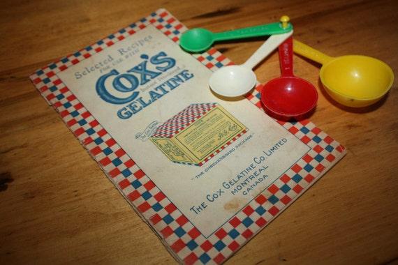 Vintage recipe book -  measuring spoons - kitchen - retro red