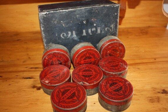 Antique spice tins and box