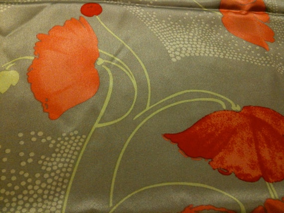 large orange poppies printed on 100% silk