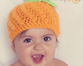 Pumpkin Hat - Crochet Pattern - Baby Hat Pattern - Halloween - Orange - Winter Hat