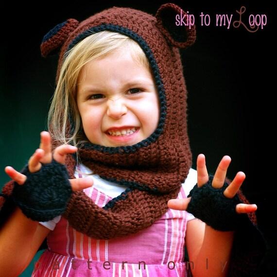 Bear Hug Scoodie - Crochet Pattern - Scarf - Costume - Hooded Scarf - Children - Cowl - Teddie Bear - Kid