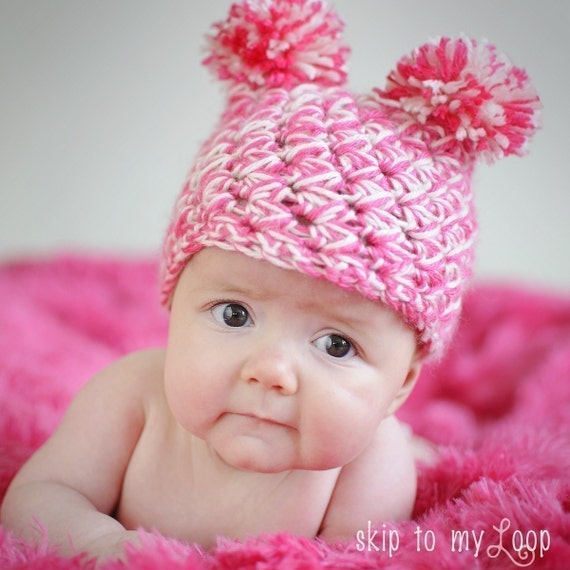 Free Crochet Pattern For Child Slouch Hat : Items similar to Pom Pom Baby Hat - Crochet Pattern ...